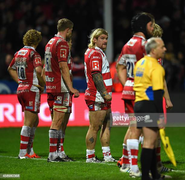 Gloucester forward Richard Hibbard looks on during the Aviva Premiership match between Gloucester Rugby and Harlequins at Kingsholm Stadium on...