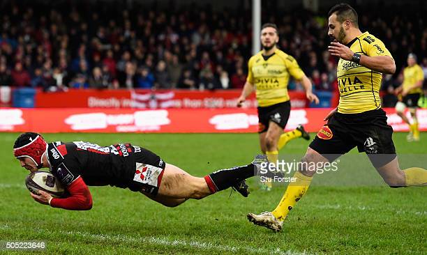 Gloucester fullback Rob Cook goes over for the first try during the European Rugby Challenge Cup match between Gloucester Rugby and La Rochelle at...