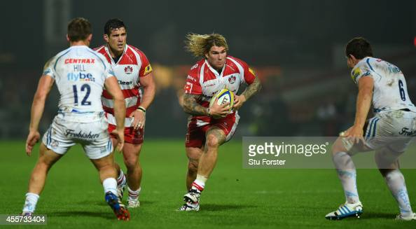 Gloucester hooker Richard Hibbard makes a break during the Aviva Premiership match between Gloucester Rugby and Exeter Chiefs at Kingsholm Stadium on...