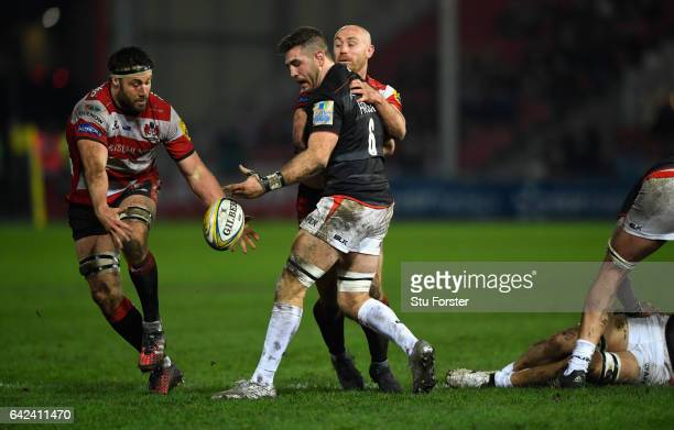 Gloucester player Jeremy Thrush intercepts a pass from Saracens Will Fraser before running in to score during the Aviva Premiership match between...