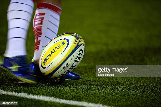 A Gloucester player kicks the ball during warm up ahead of the Aviva Premiership match between Newcastle Falcons and Gloucester at Kingston Park on...