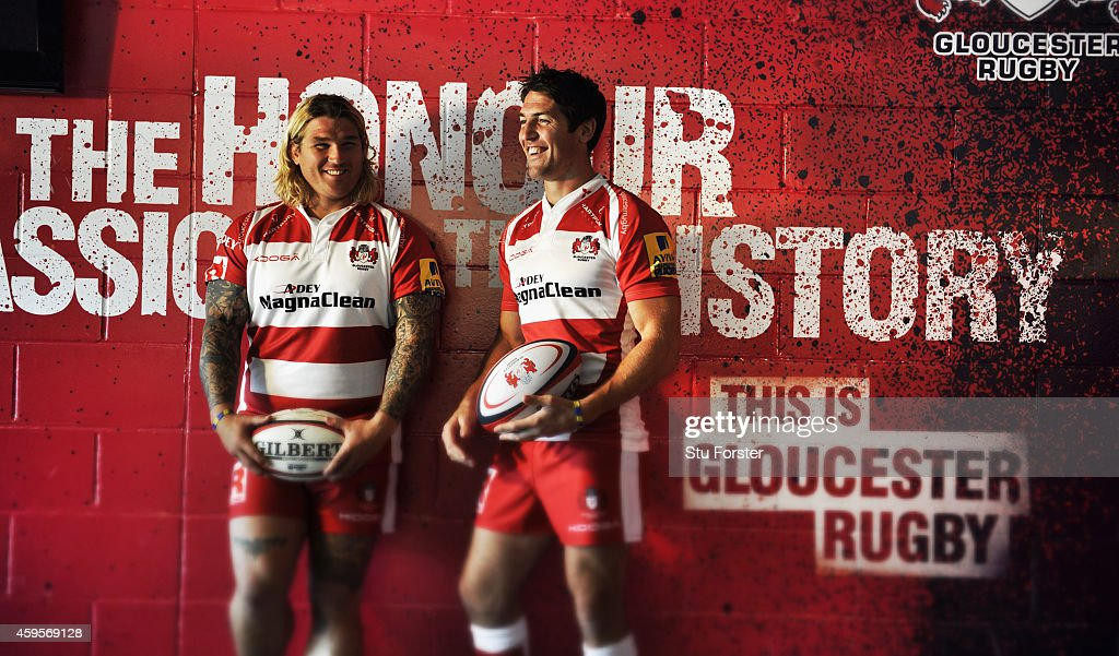 Gloucester Rugby and Wales players <a gi-track='captionPersonalityLinkClicked' href=/galleries/search?phrase=James+Hook&family=editorial&specificpeople=710391 ng-click='$event.stopPropagation()'>James Hook</a> (r) and <a gi-track='captionPersonalityLinkClicked' href=/galleries/search?phrase=Richard+Hibbard&family=editorial&specificpeople=4313527 ng-click='$event.stopPropagation()'>Richard Hibbard</a>, pictured at Kingsholm Stadium on August 13, in Gloucester, England.