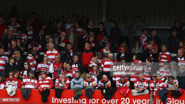 Gloucester Rugby supporters in the Shed look on prior to the Aviva Premiership match between Gloucester Rugby and Sale Sharks at Kingsholm Stadium on...