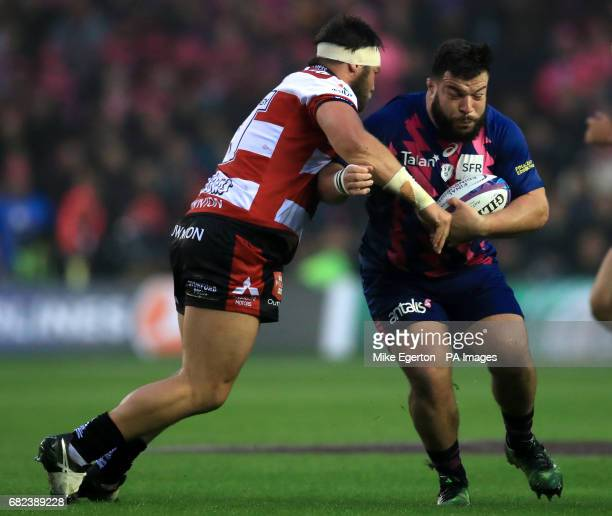 Gloucester Rugby's Josh Hohneck tackles Stade Francais' Rabah Slimani during the European Challenge Cup Final at BT Murrayfield Edinburgh