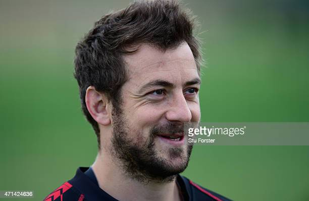 Gloucester scrum half Greig Laidlaw raises a smile during Gloucester Rugby open training ahead of their European Challenge Cup final against...