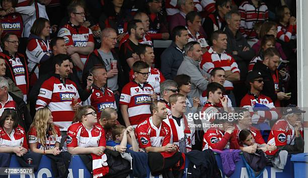 Gloucester supporters in the Shed watch the action during the Aviva Premiership match between Gloucester Rugby and London Irish at Kingsholm Stadium...