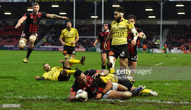 Gloucester wing David Halaifonua goes over for a try but is later disallowed during the European Rugby Challenge Cup match between Gloucester Rugby...