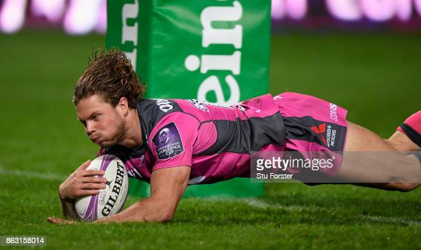 Gloucester wing Henry Purdy scores under the posts during the European Rugby Challenge Cup match between Gloucester Rugby and Agen at Kingsholm on...