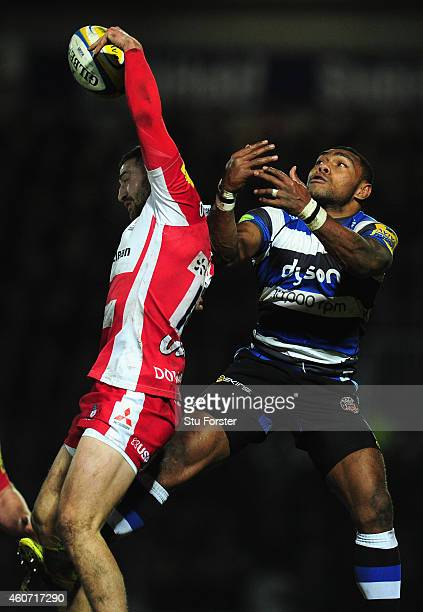 Gloucester wing Jonny May challenges Bath wing Semesa Rokodoguni for a high ball during the Aviva Premiership match between Gloucester Rugby and Bath...