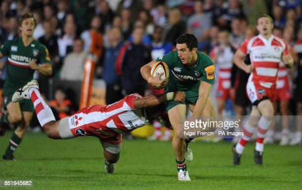 Gloucesters' Andrew Bulumakau tackles Leicester Tigers' Stef Jones during the JP Morgan Prem Rugby 7's at the Recreation Ground Bath