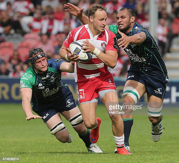Gloucester's Bill Meakes is tackled during the Gloucester Rugby v Connacht Rugby European Champions Cup PlayOff at Kingsholm Stadium on May 24 2015...