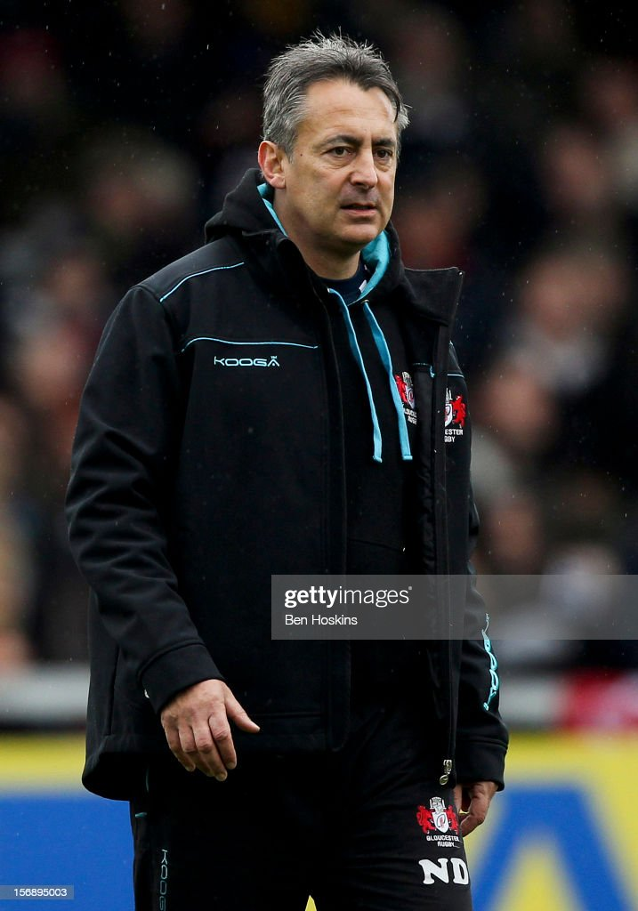 Gloucester's director of rugby Nigel Davies looks on prior to the Aviva Premiership match between Gloucester and Sale Sharks at the Kingsholm Stadium on November 24, 2012 in Gloucester, England.