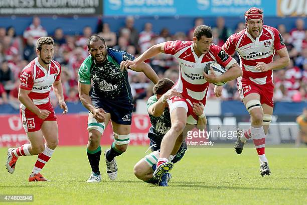 Gloucester's Jonny May holds onto the ball during the Gloucester Rugby v Connacht Rugby European Champions Cup PlayOff at Kingsholm Stadium on May 24...