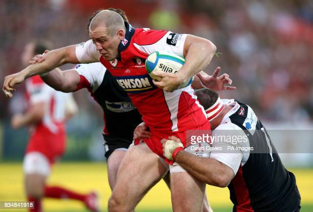 Gloucester's Mike Tindall is held up by the Biarritz defence during the Heineken Cup match at Kingsholm Stadium Gloucester