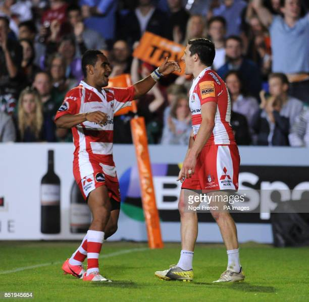 Gloucester's Rhodri McAtee celebrates his try against the Leicester Tigers' with Andrew Bulumakau during the JP Morgan Prem Rugby 7's at the...