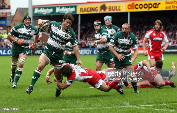Gloucester's Rory Watson tackles Leicester's Daniel Hipkiss during the Guinness Premiership match at Kingsholm Gloucester