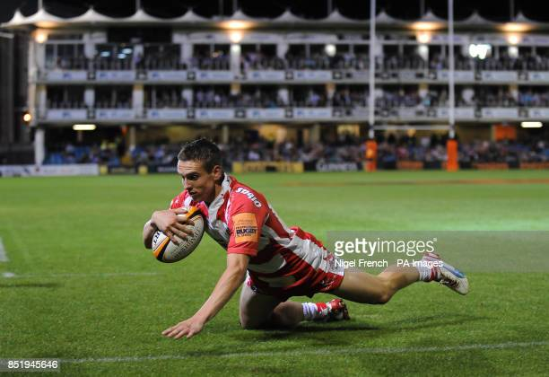 Gloucesters' Steph Reynolds scores the opening try of the game against Leicester Tigers in the final during the JP Morgan Prem Rugby 7's at the...