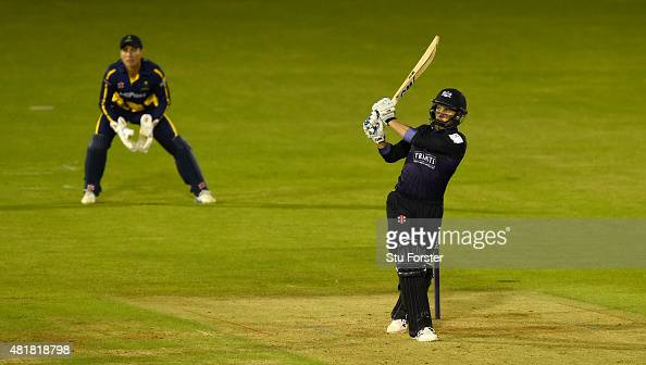 Gloucestershire batsman Chris Dent hits out during the 5 over NatWest T20 Blast between Glamorgan and Gloucestershire at the Swalec stadium on July...