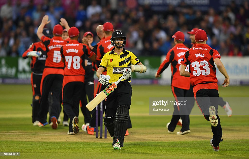 Gloucestershire batsman Michael Klinger reacts after being caught by Jets wicketkeeper Michael Richardson during the NatWest T20 Blast quarterfinal...