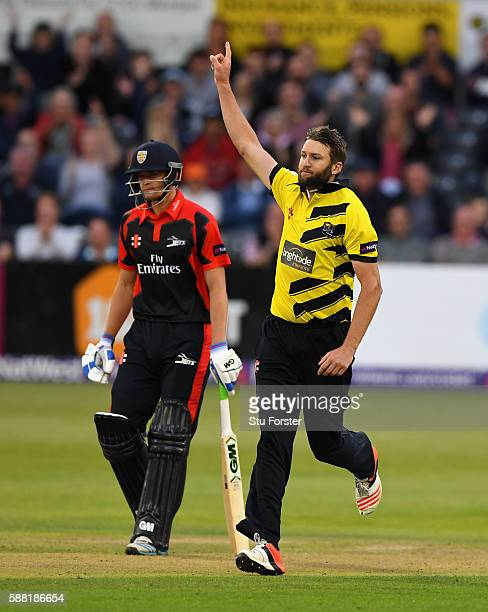 Gloucestershire bowler Andrew Tye celebrates after dismissing Keaton Jennings during the NatWest T20 Blast quarterfinal match between Gloucestershire...