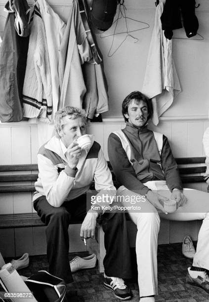 Gloucestershire cricketers Brian Brain and David Graveney have a cup of tea in the dressing room during the Schweppes County Championship match...