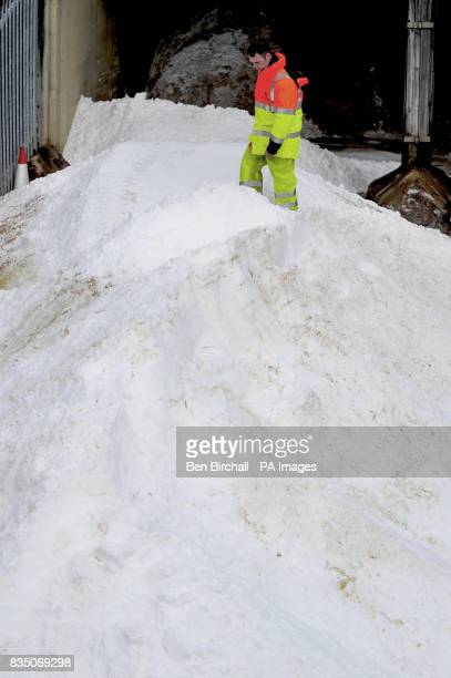Gloucestershire Highways stakeholder manager John Kay inspects a new delivery of salt at the Stroudwater council gritting depot in Gloucester