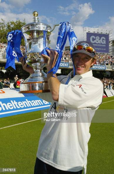 Gloucestershire man of the match Ian Harvey celebrates with the trophy after Gloucestershire's victory over Worcestershire in the Cheltenham...