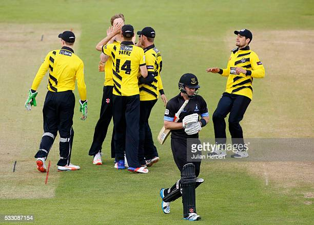 Gloucestershire players celebrate the wicket of Chris Nash of Sussex Sharks during the NatWest T20 Blast match between Gloucestershire and Sussex...