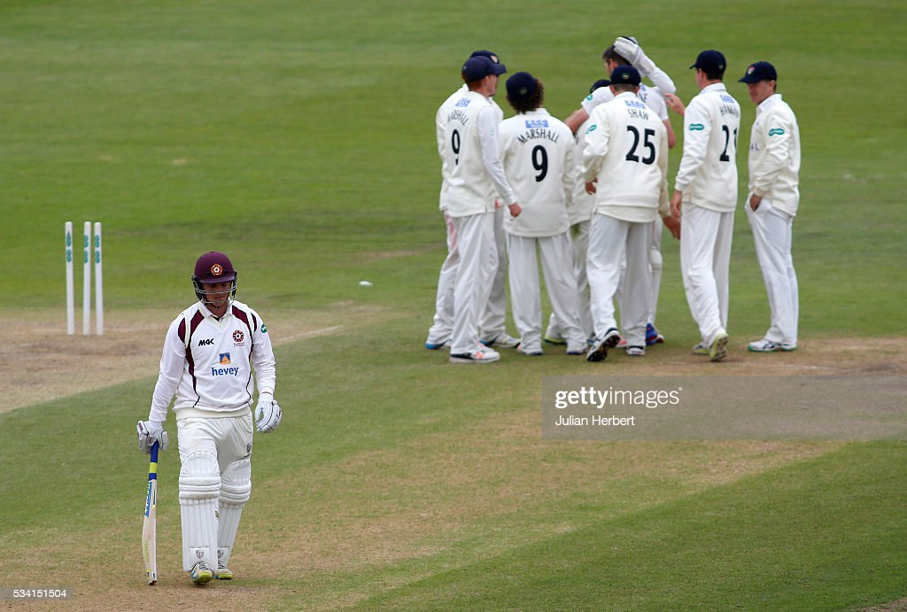 Gloucestershire players celebrate the wicket of Northamptonshire's Rob Newton during day four of the Specsavers Division Two match between Gloucestershire and Northamptonshire at The County Ground on May 25, 2016 in Bristol, England.