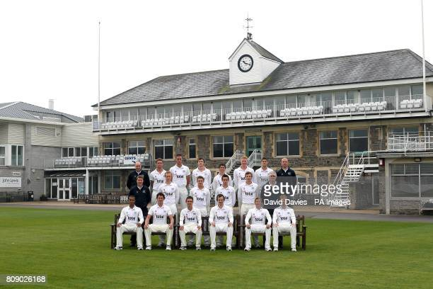 Gloucestershire team group Physiotherapist Steve Griffin Ian Cockbain David Wade James Fuller Richard Coughtrie Liam Norwell David Payne and Strength...