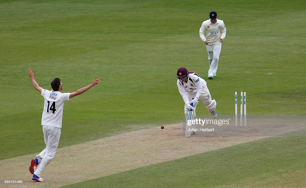 Gloucestershire's David Payne celebrates his wicket after bowling Northamptonshire's Rob Newtonon during day four of the Specsavers Division Two match between Gloucestershire and Northamptonshire at The County Ground on May 25, 2016 in Bristol, England.
