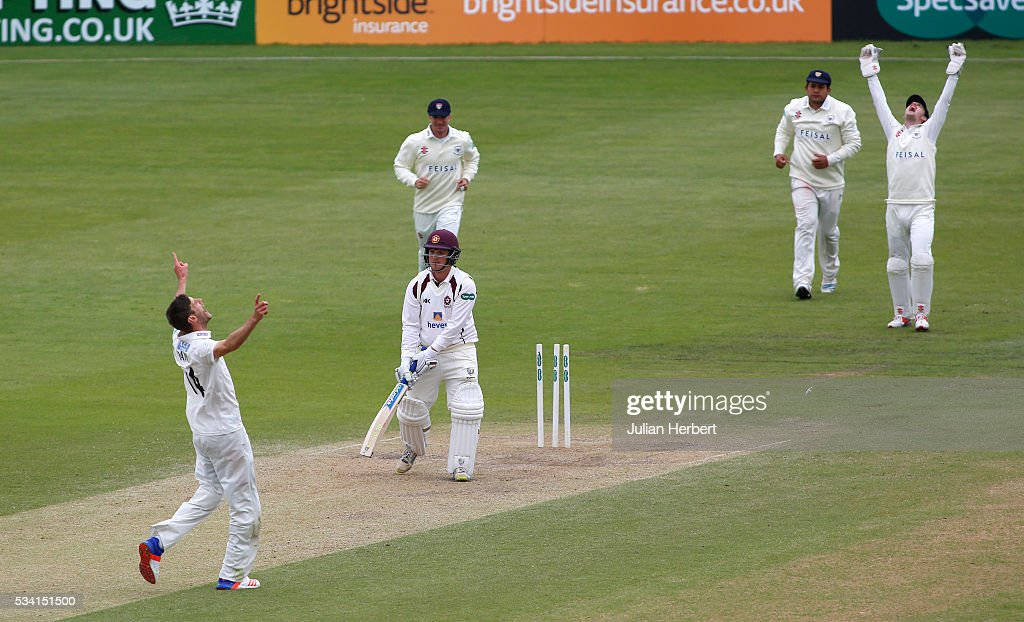 Gloucestershire's David Payne celebrates his wicket after bowling Northamptonshire's Rob Newton during day four of the Specsavers Division Two match between Gloucestershire and Northamptonshire at The County Ground on May 25, 2016 in Bristol, England.