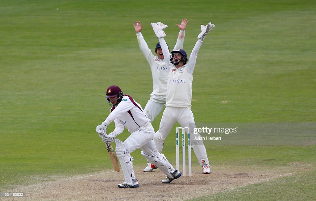 Gloucestershire's Hamish Marshall and wicket keeper Gareth Roderick make an unsucsesful appeal for the wicket of Northamptonshire's Richard Gleeson during day four of the Specsavers Division Two match between Gloucestershire and Northamptonshire at The County Ground on May 25, 2016 in Bristol, England.