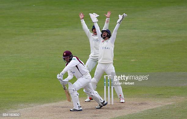 Gloucestershire's Hamish Marshall and wicket keeper Gareth Roderick make an unsucsesful appeal for the wicket of Northamptonshire's Richard Gleeson...