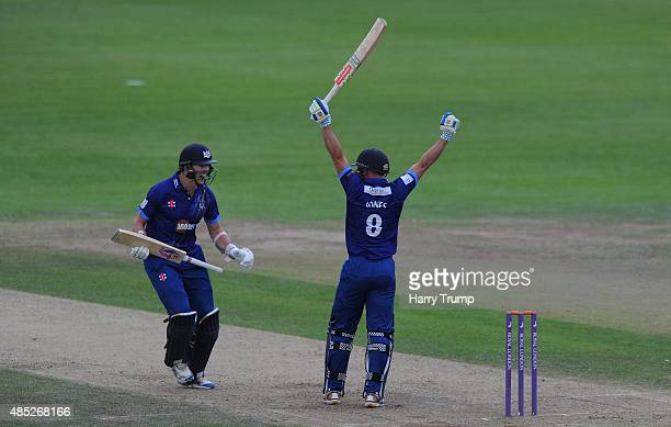 Gloucestershire's James Fuller and Geriant Jones celebrate victory during the Royal London OneDay Cup Quarter Final between Gloucestershire and...