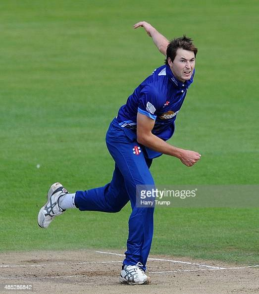 Gloucestershire's James Fuller bowls during the Royal London OneDay Cup Quarter Final between Gloucestershire and Hampshire at The County Ground on...