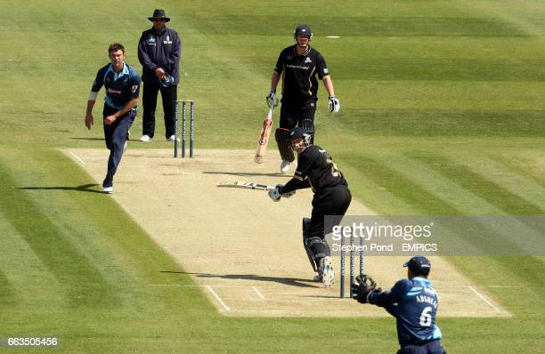 Gloucestershire's Steve Adshead catches Yorkshire's Andrew Gale from the bowling of James Franklin