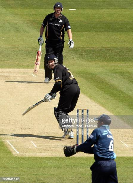 Gloucestershire's Steve Adshead catches Yorkshire's Andrew Gale