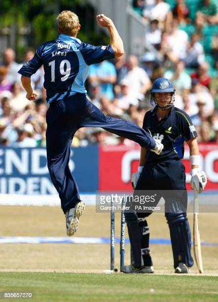 Gloucestershire's Steve Kirby celebrates the wicket of Sussex's Chris Nash during the Friends Provident Trophy Semi Final at the County Ground Hove