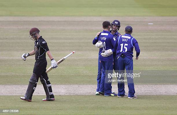 Gloustershire players celebrate the wicket of Rory Burns of Surrey during the Royal London OneDay Cup Final between Surrey and Gloustershire at...