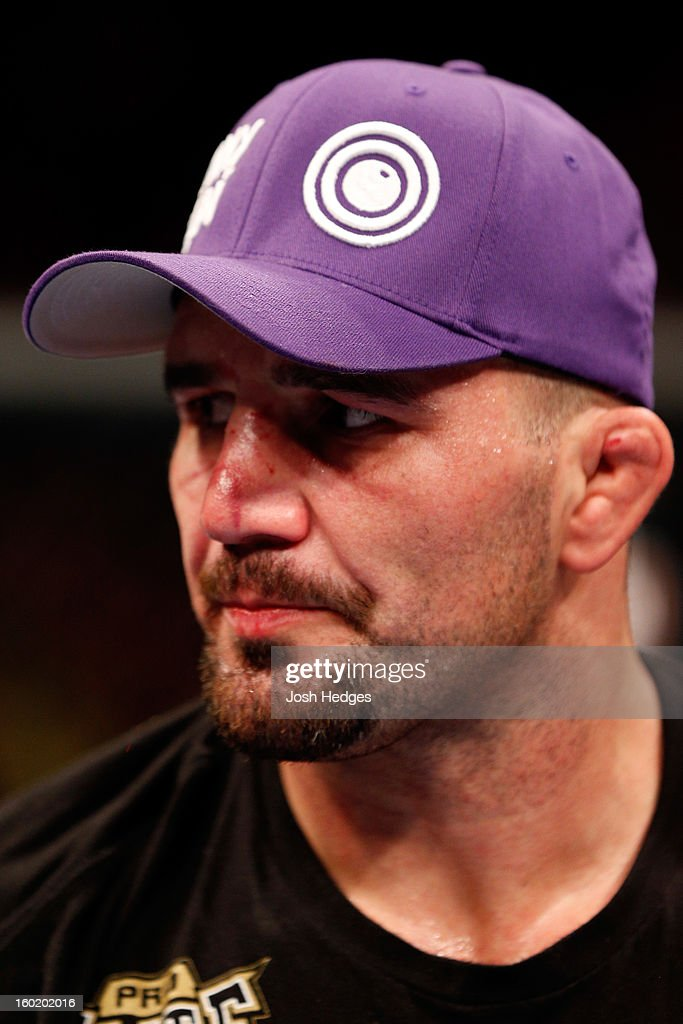 Glover Teixeira looks on after fighting Rampage Jackson during their Light Heavyweight Bout part of UFC on FOX at United Center on January 26, 2013 in Chicago, Illinois.