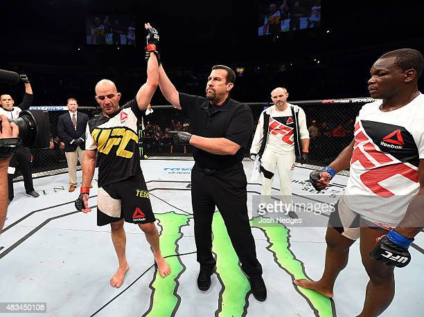 Glover Teixeira of Brazil celebrates after defeating Ovince Saint Preux in their light heavyweight bout during the UFC Fight Night event at...