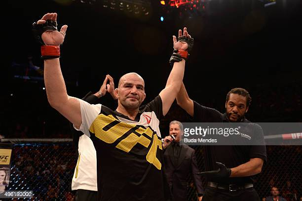 Glover Teixeira of Brazil celebrates victory over Patrick Cummins of the United States in their light heavyweight bout during the UFC Fight Night...