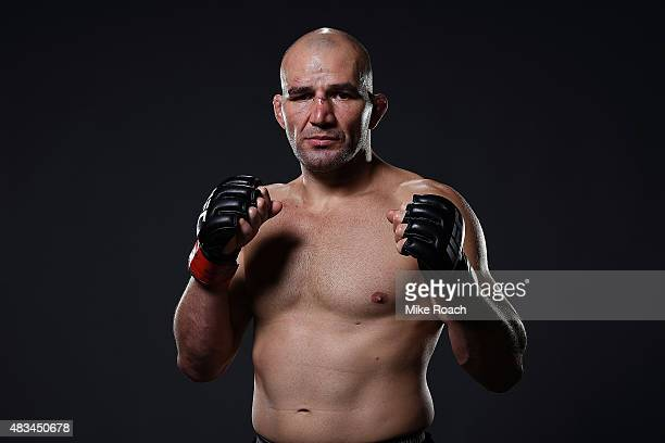 Glover Teixeira of Brazil poses for a post fight portrait backstage during the UFC Fight Night event at Bridgestone Arena on August 8 2015 in...