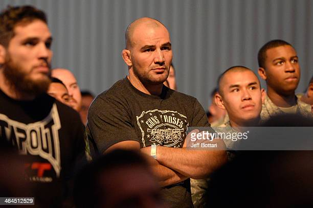 Glover Texeira stands in the crowd as he watches the weighs in during the UFC Fight For the Troops weighin at the Fort Campbell Sabre Air Field...