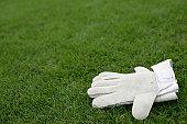 Gloves of a goalkeeper lying on grass