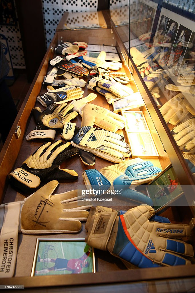 Gloves of former goalkeepers of Schalke are seen at Schachtschatz Museum coalmine Hugo tray two on June 4 2013 in Gelsenkirchen Germany