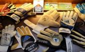 Gloves of former goalkeepers of Schalke are seen at Schachtschatz Museum coalmine Hugo tray two on June 4 2013 in Gelsenkirchen Germany