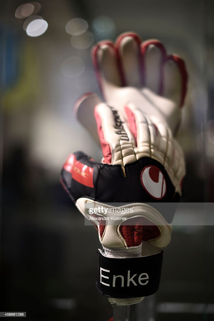 Gloves of national goalkeeper Robert Enke are shown to the public at the special exhibition 'ROBERT gedENKEn' at State Museum on November 9 2014 in...
