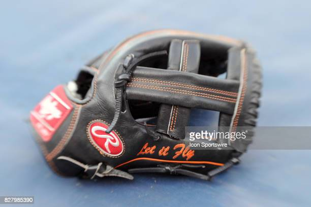 A gloves sits on the tarp prior to the start of an MLB game between the Miami Marlins and the Washington Nationals on August 8 at Nationals Park in...